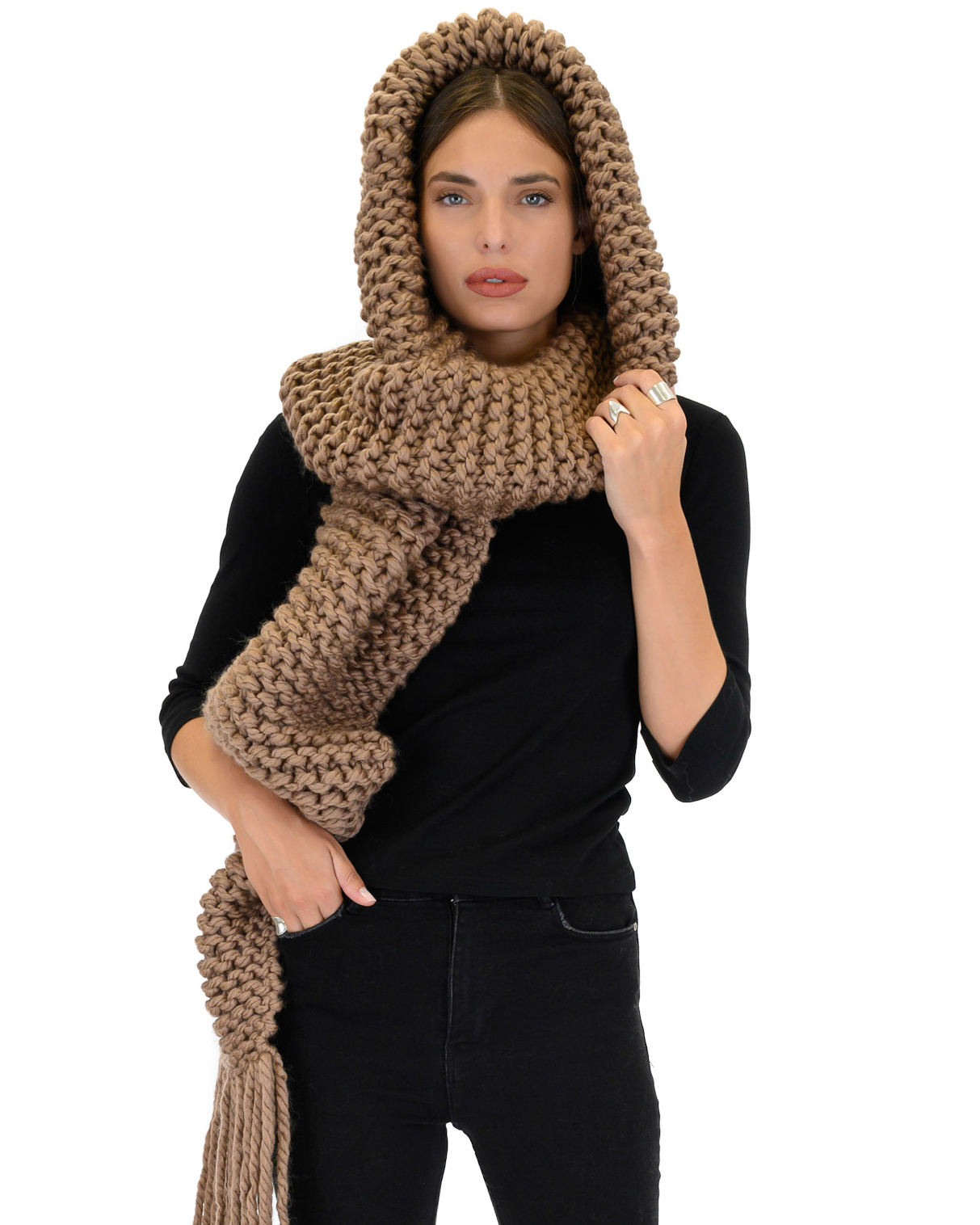 Hooded Fringes Scarf