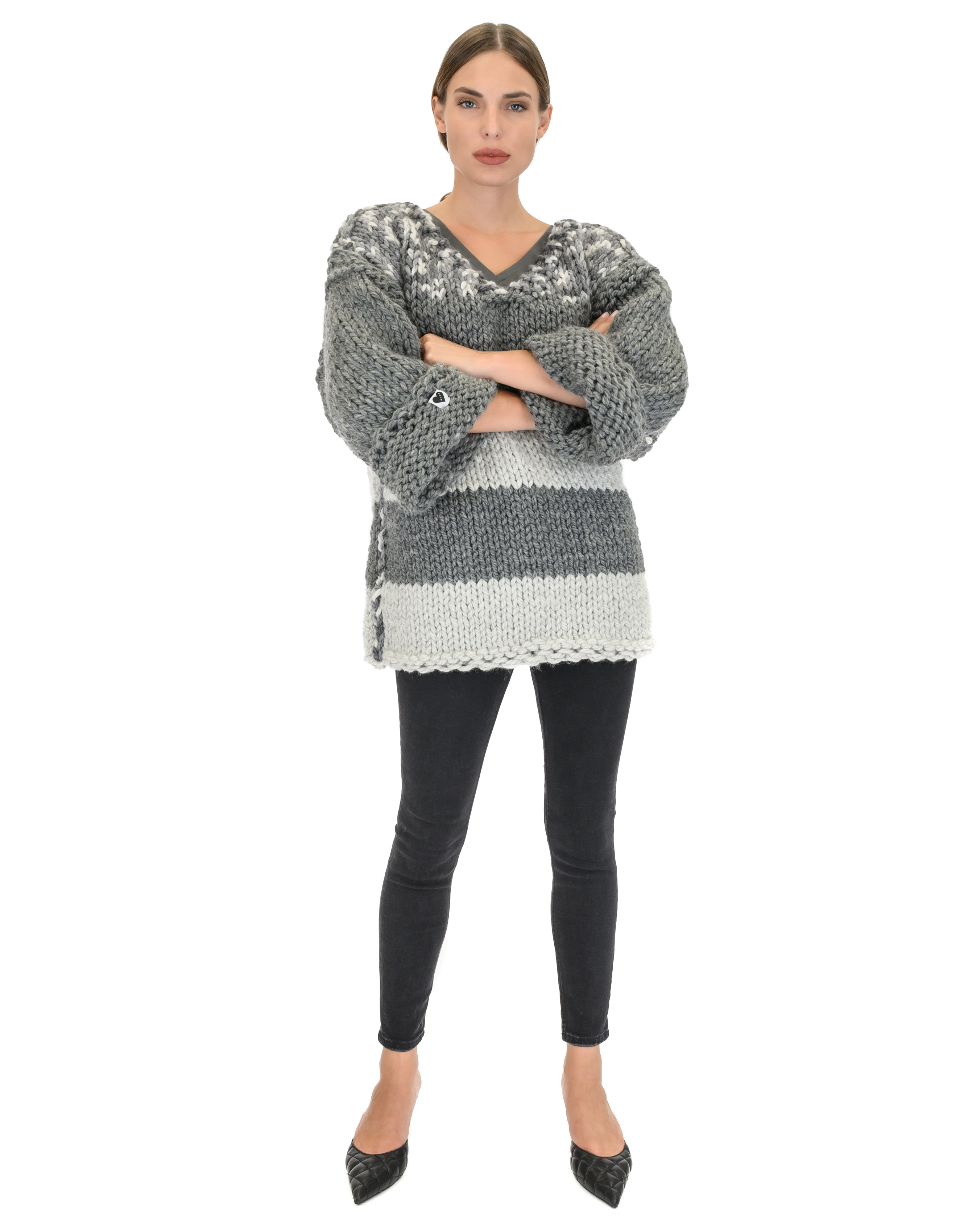 Grey Stripes Sweater