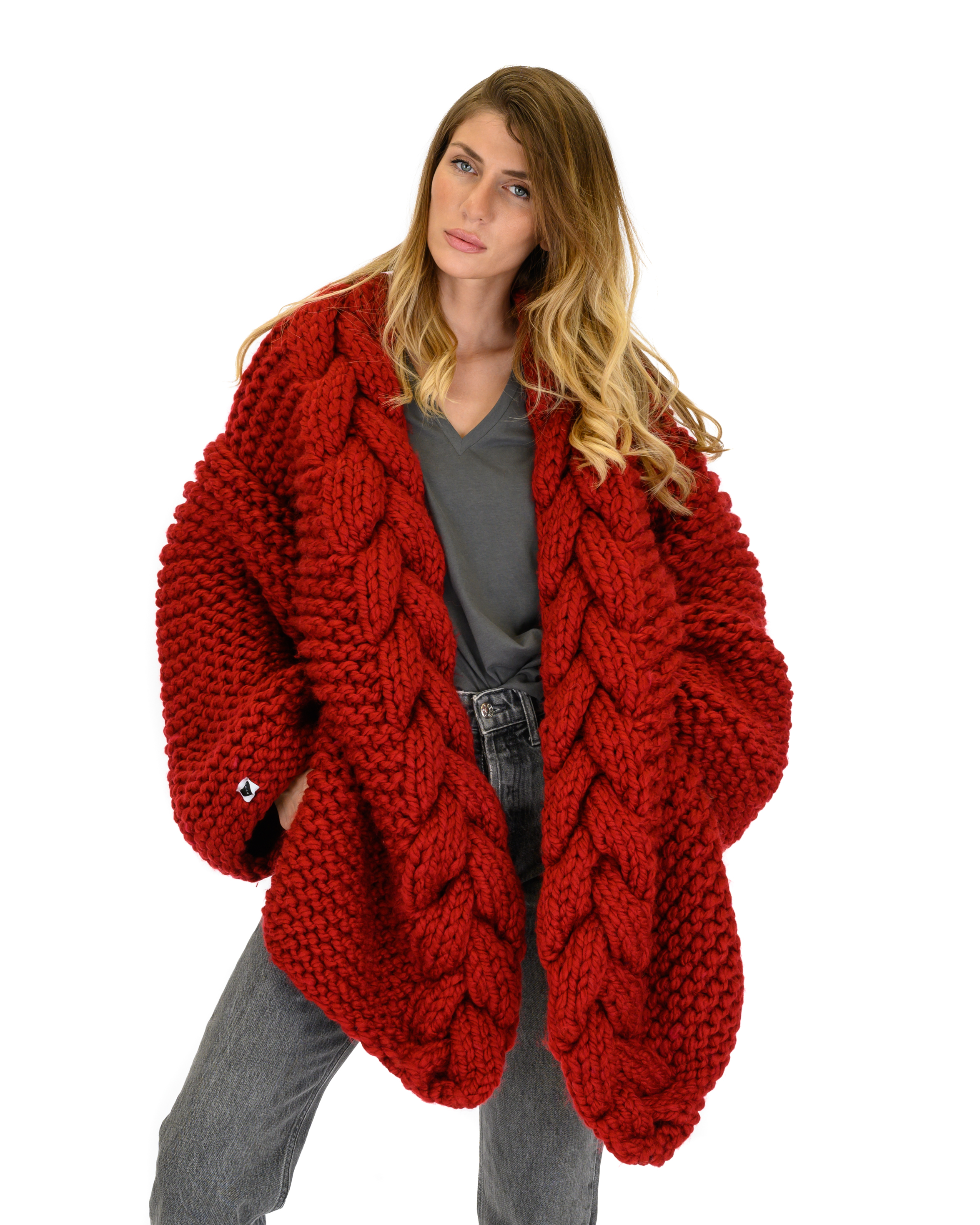 Cable Knitted Coat-Red
