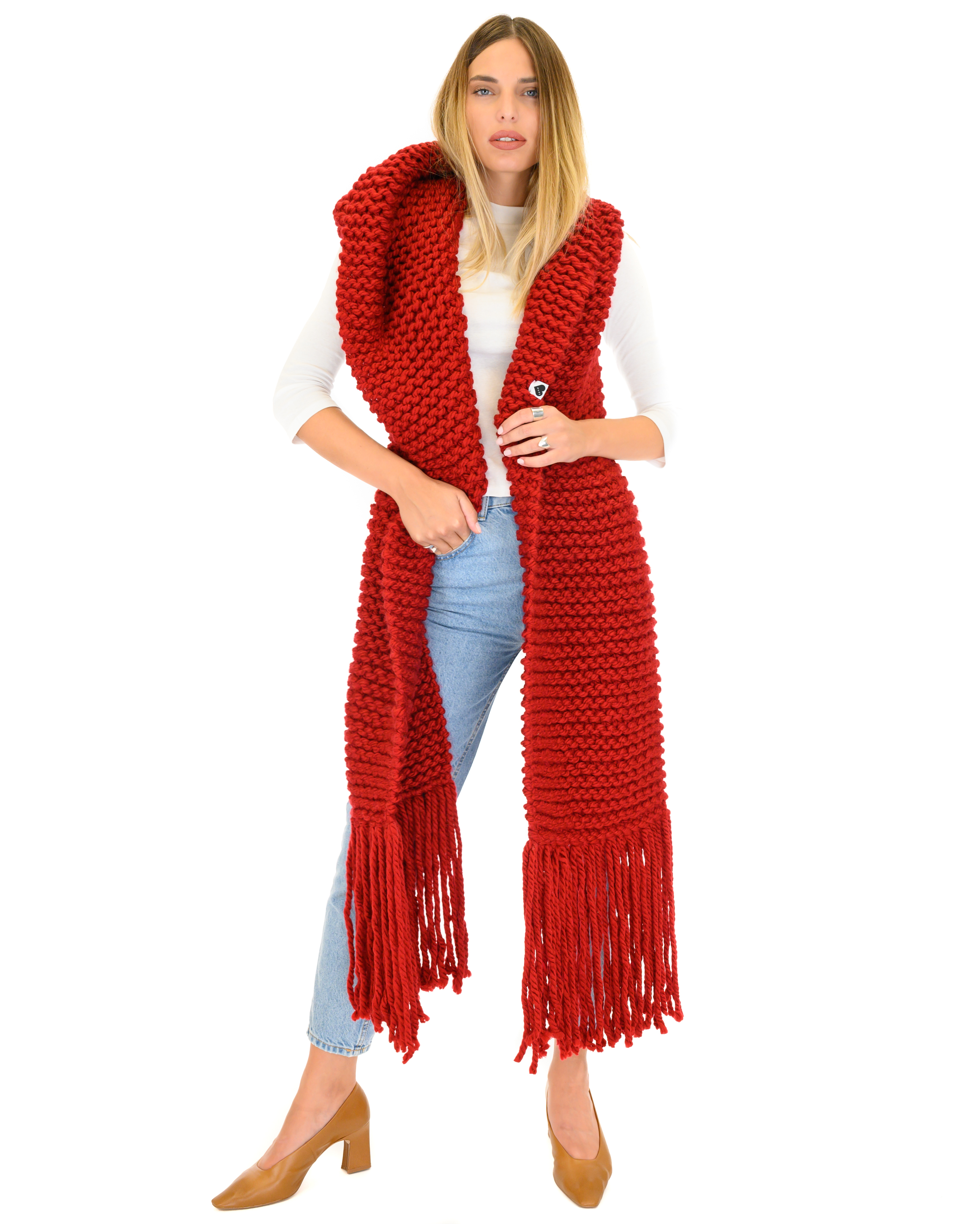Hooded Fringes Scarf-Red