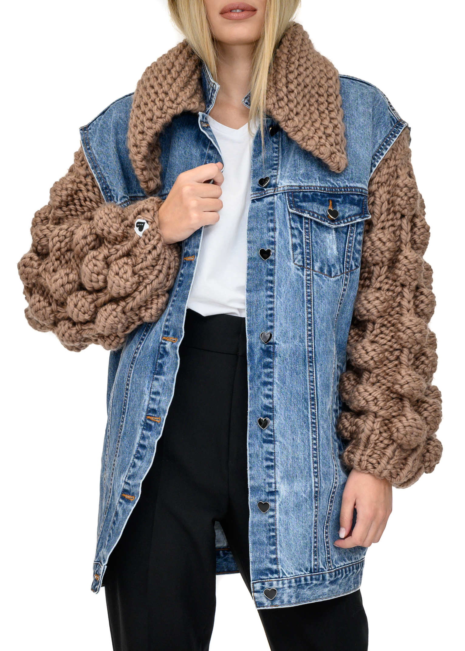 Denim Jacket with Bubble Sleeves