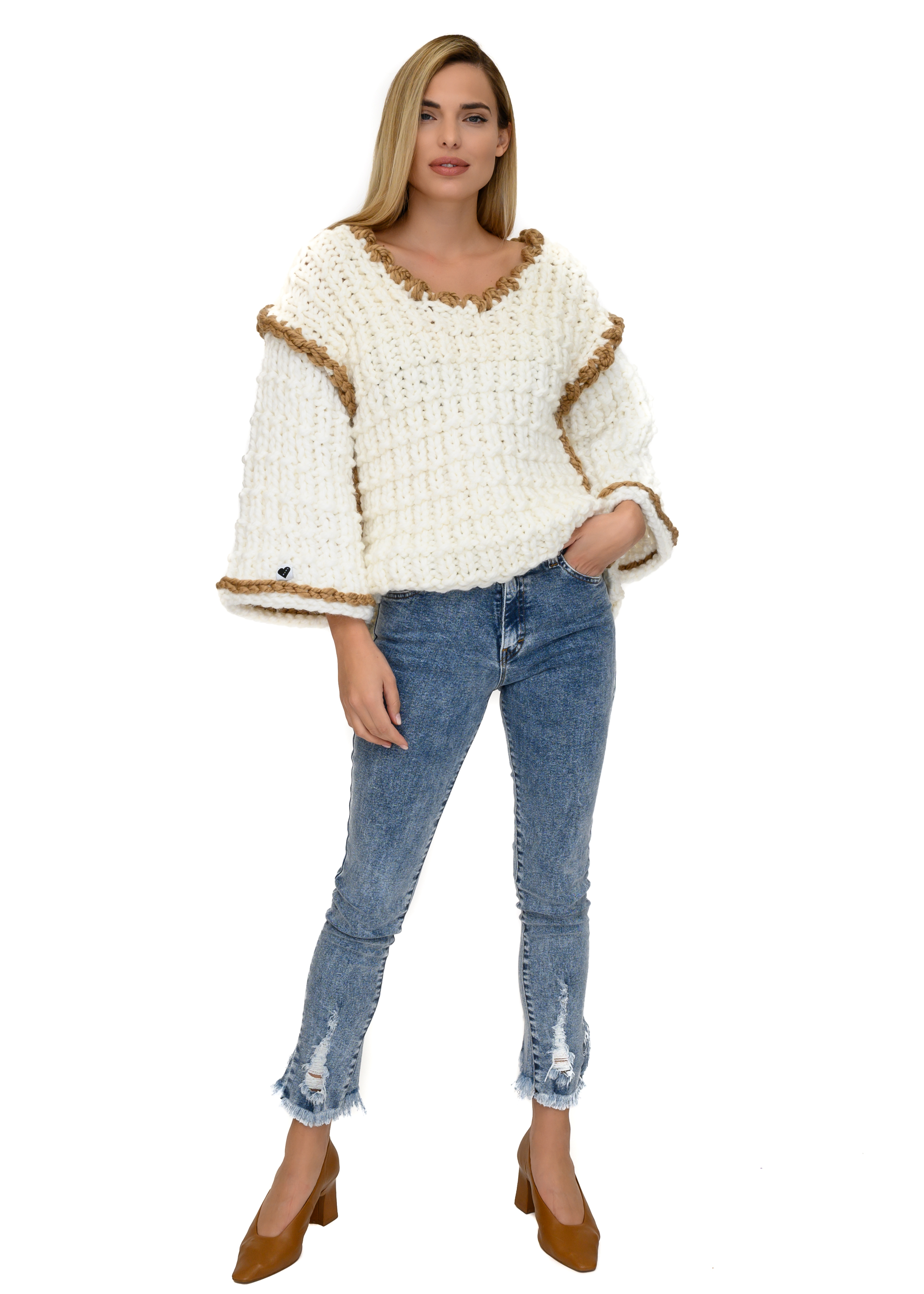 V-neck Texture Jumper